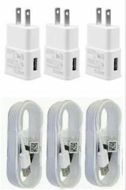 3X Wall Chargers Micro USB Cable+Adapter For Android Phones