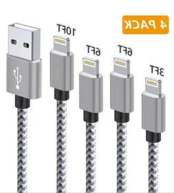 4 Pack Phone Charger,3FT 6FT 6FT 10FT Extra Long Nylon Braid