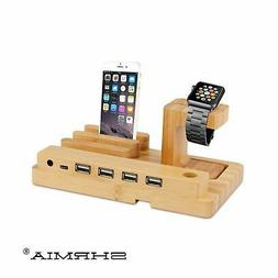 4 Port Bamboo Charging Station, Watch Stand Charger Dock for