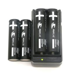 4Pcs Li-ion 3000mAh 18650 Battery with Charger 3.7V Recharge