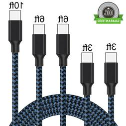 5 PACK 10FT Type-C USB-C Nylon Braided Fast Charger Cable Qu