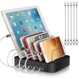 5 Port Cell Phone USB Charger Hub Fast Charging Station For