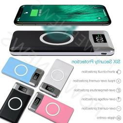 2000000mAh Power Bank Qi Wireless Charging 2 USB LCD Portabl