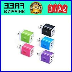 5Pack Charger Block Plug 2.1A Quick Dual Port Wall Charger B