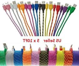 5x 10FT lot BRAIDED USB Data Sync Charger Charging Cable for