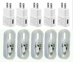 5X Wall Chargers Micro USB Cable+Adapter For Android Phones