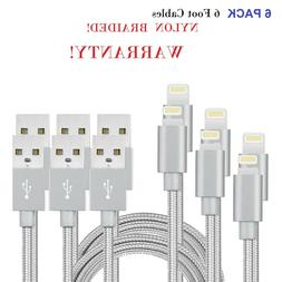 6 PACK Nylon Braided Lightning USB Data Cable Charger Cord f