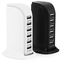 6 Port Charger USB Desktop Wall Fast Charging Station AC Pow