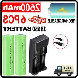 6x 2600mAh 18650 Battery Li-ion Flat Top Rechargeable Batter
