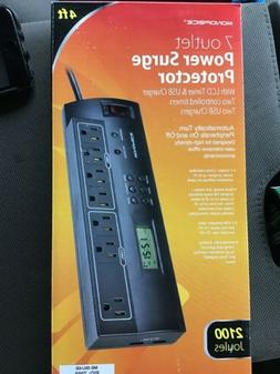 Monoprice 7 Outlet Surge Protector With LCD Timer And 2 USB