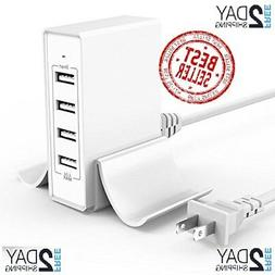 Atizzy Multi Port USB Charger with Phone Stand, 24W 4.8A 4-P