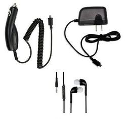 CAR CHARGER +1.2 AMP WALL HOME CHARGER+STEREO HEADSET FOR LG
