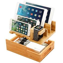 Charging Station for Multiple Devices Wood Dock Organizer Ch
