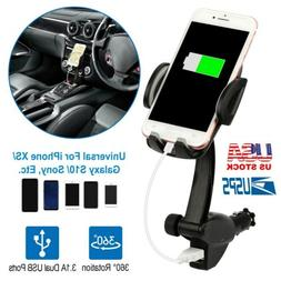 Dual USB Car Charger Holder Mount With Cigarette Lighter for