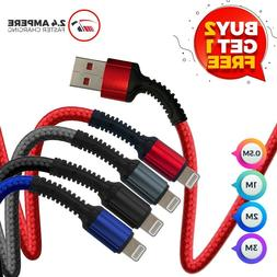 Heavy Duty Lightning Braided 1M 2M USB Charger Cable For iPh