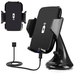 QI Wireless Car Phone Charger Mount Holder For iPhone 8 Plus