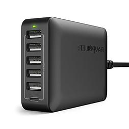 USB C Charger RAVPower 60W 6-Port USB Charger Desktop Chargi