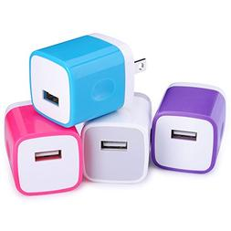 Wall Charger, Ououdee 4-Pack USB 1AMP Universal Home Travel