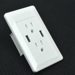 AC Power Adapter Socket Dock Station With 2 Port USB Wall Ch