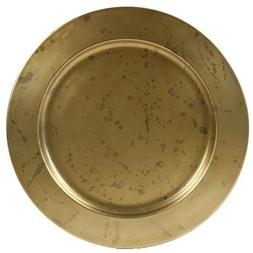 Koyal Wholesale Aged Gold Brass Bulk Metal Charger Plates, S