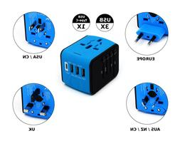 All-in-One international travel charger adapter with 3 usb p