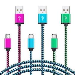 Ououdee Android Charger Cable, 3-Pack 6FT Braided Micro USB