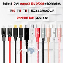 Android Micro USB Cable 3FT/6FT/10FT Samsung Charger Braided