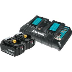 Makita BL1850B2DC2 5.0 Ah 18V LXT Lithium-Ion Battery and Du