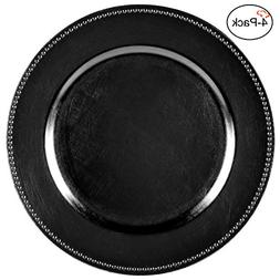 Tiger Chef 13-inch Black Round Beaded Charger Plates, Set of