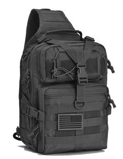 Black Tactical Sling Range Bag Military Backpack Pack Rover