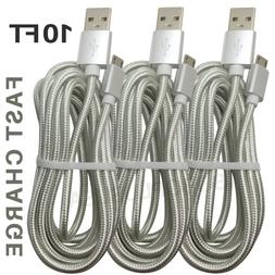Braided Micro USB Cable 10Ft Fast Charging Cord Android Char