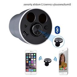 MYMAHDI Car Charger Cup Holder with Bluetooth Headphone 12V/