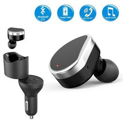 Car Charger with Bluetooth Earbud Dual Port Car Charger Adap