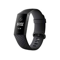 Fitbit Charge 3 Fitness Activity Tracker, Graphite/Black, On