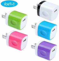 Charging Block, Charger Box, Ououdee 1A 5-Pack Travel Single