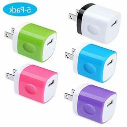 Charging Block, Charger Box, Ououdee 1A 5-Pack Travel