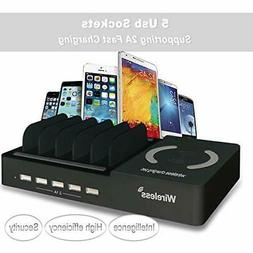 Dooreemee Charging Station for Multiple Devices, 5port USB +