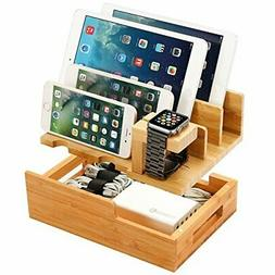 Charging Station for Multiple Devices Wood Dock Organizer