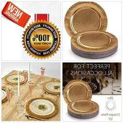 DISPOSABLE ROUND CHARGER PLATES - 20pc  Dinner Thanksgiving