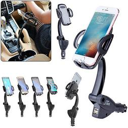 dual usb car charger holder mount
