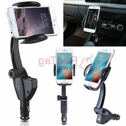Dual USB Car Charger Holder Mount w/ Cigarette Lighter Charg
