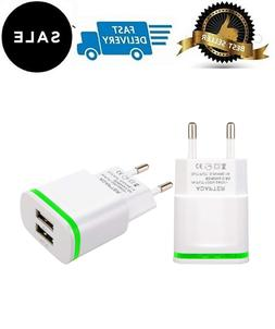 Europe Wall Charger, 2Pack 2.1A 5V Universal LED Dual USB Eu