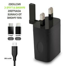 Fast 3.1A Travel 3-Port USB Wall Charger UK Plug with iPhone