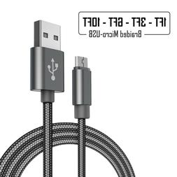 Fast Charger Cable Cord Micro USB Nylon Braided Data Sync Ch