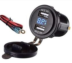 4.8 AMPS Fast Dual USB Socket Waterproof Charger W/Voltmeter
