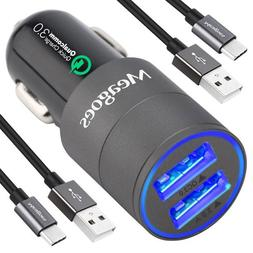 Meagoes Fast USB C Car Charger, Compatible Samsung Galaxy S1