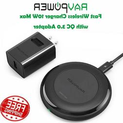 RAVPower Fast Wireless Charger 10W Max with QC 3.0 Adapter R