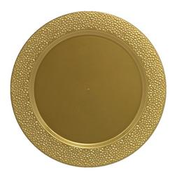 Posh Setting Gold Charger Plates, Hammered Design, Medium We