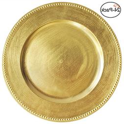 Tiger Chef 13-inch Gold Round Beaded Charger Plates, Set of