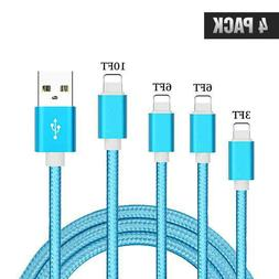 iPhone Cables, 4Pack 3FT 6FT 6FT 10FT Nylon Braided Lightnin